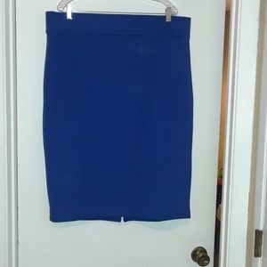 Bright blue body conscious skirt